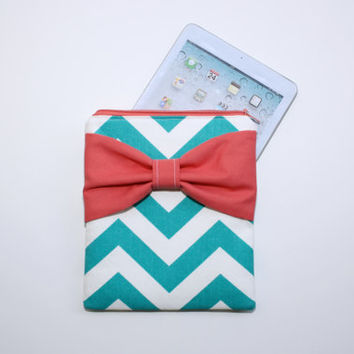 iPad Case - Android - Microsoft Surface Sleeve - Turquoise Chevron with Coral Bow - Padded - Sized to Fit Any Brand Tablet