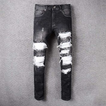 France Style #519# Mens Distressed Embellished Ribbed Stretch Moto Pants Biker Jeans Slim Trousers Size 28-42