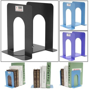 1 Pair Cast Iron Heavy Duty Metal Anti-skid Book Ends Shelf Practical Bookend Holder Office School Stationery 130*170*125mm