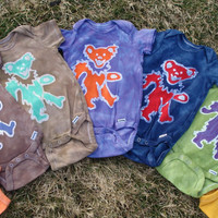 Grateful Dead Baby Batik Onesuit Dancing Jerry Bear CUSTOM PLEASE READ listing for sizing