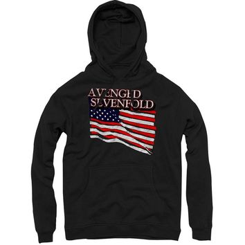 Avenged Sevenfold Men's  Flag Hooded Sweatshirt Black