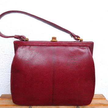 Red Lizard Skin Retro Kelly Purse With Kiss Lock Closure, Genuine Leather 50s 60s Burgundy Leather Bag, Exotic Reptile Cocktail Clutch