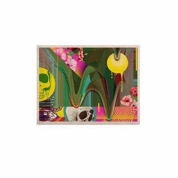 "Roberlan ""Almost Everything Collage"" Green Yellow Abstract Vintage KESS Naturals Canvas (Frame not Included)"