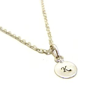 Custom Hand Stamped Initial Sterling Silver Monogrammed Personalized Necklace