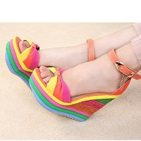 New Arrivals rainbow Stripe Fish mouth Chain Slipsole Sandals Orange, Buy New Arrivals rainbow Stripe Fish mouth Chain Slipsole Sandals Orange with cheapest price|wholesale-dress.net