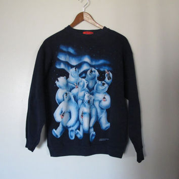hipster 90s Coca Cola Coke sweater sweatshirt polar bear long sleeve black sweater M L XL 1990s animal sweater hipster