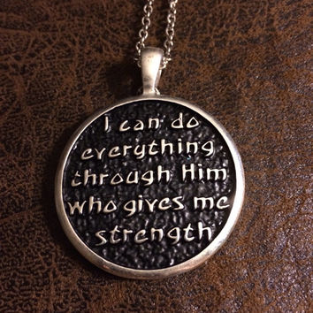 I can do everything through him who gives me strength Essential Oil Diffuser~Necklace~Aromatherapy Necklace~Womens Diffuser~Girls Diffuser~D