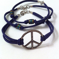 Peace sign and mood beads on navy blue leather cord stackable bracelets, valentines day gifts