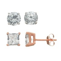 Cubic Zirconia 18k Rose Gold Over Silver Stud Earring Set (White)