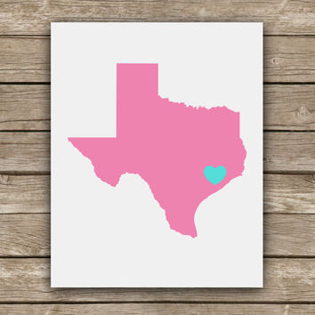 I Heart My Hometown - State - Graphic Print - Wall Art