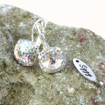 Swarovski crystal white patina earrings in 12mm,amazing sparkle, Siggy crystal earrings