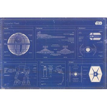 Star Wars Imperial Fleet Blueprint Poster 24x36