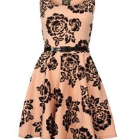 New Look Mobile | Parisian Apricot Flocked Floral Dress