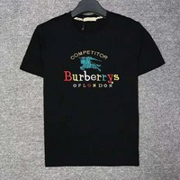 BURBERRY Summer Newest Fashion Casual Short Sleeve Round Collar T-Shirt Top Black