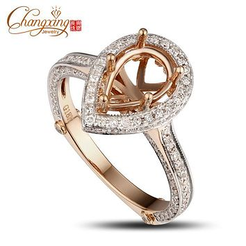 PEAR CUT 6x9mm SOLID 14CT ROSE GOLD Natural 0.95CT DIAMOND SEMI MOUNT RING