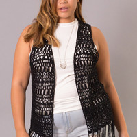 Plus Size Fringed Crochet Vest - Black