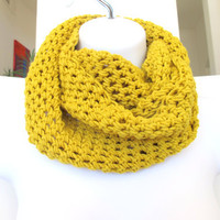 Yellow infinity cowl, crochet loop scarf unisex neck warmer, FREE SHIPPING gift under 40