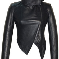 Designer Hand Made Women Leather Asymmetrical Soft Leather Jacket with High Neck Collars
