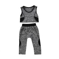 Children Tracksuit For Girls  New Kids Baby Girls Yoga Vest Crop Tops Elastic Pants Leggings Baby Girls Sport Clothes Outfit