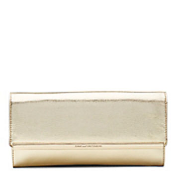 DVF Voyage After 6 Embossed Metallic Leather Clutch