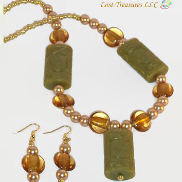 Totem Gold-Handmade Jewelry Set-2 Piece Ladies Necklace & Earrings-Ladies Jewelry-Handcrafted-Trending-Unique-Jewellry-Gifts For Her-Gifts
