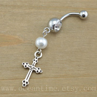 pearl cross Belly Button Rings,cross Navel Jewlery, pearl belly button ring, friendship belly button ring