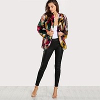 Multicolored Faux Fur Jacket