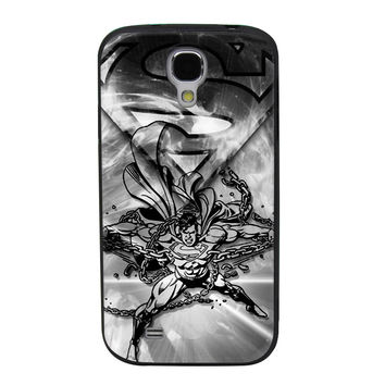 Superman Black & White Chains TPU Soft Shell Jelly Silicone Case for Samsung Galaxy S4