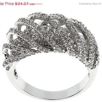 ON SALE TILL 4/6 Fashion Engagement Jewelry Tiny Clear Cubic Zirconia Stone Ring Ladies Silver-plated Ring Band Lead free & Nickel free