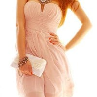 Pink Sweet Cocktail Strapless Low-cut Dress For Women