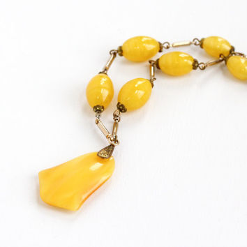 Vintage Art Deco Yellow Glass Bead Necklace - Antique 1920s Brass Flapper Long Length Statement Costume Jewelry