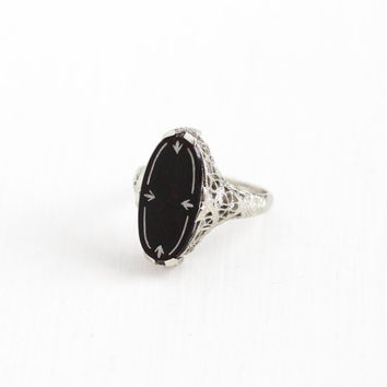 Antique Art Deco 14K White Gold Onyx White Enamel Ring - Belais Vintage 1920s Size 5 1/2 Filigree Black Gemstone Statement Fine Jewelry