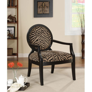 Coaster Furniture 900213 Louis Style Zebra Print Accent Chair with Exposed Wood Arms