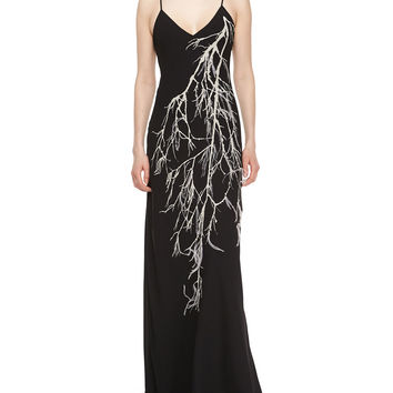 Spaghetti Straps Embroidered Gown, Size:
