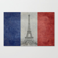 Distressed National Flag of France with Eiffel Tower insert Stretched Canvas by Bruce Stanfield