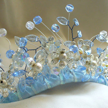 Forget-Me-Not Blue and SIlver Flower Bridal Tiara Comb - Spring Wedding Tiara, Fairy Floral Tiara,  Forest, Woodland Wedding, Something Blue