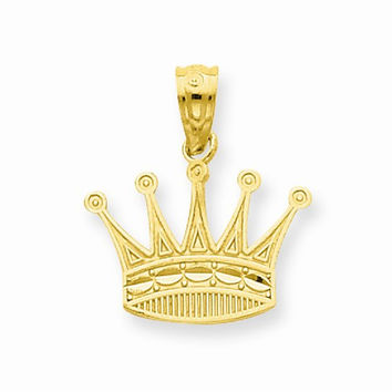 14k Yellow Gold Textured Design Crown Pendant