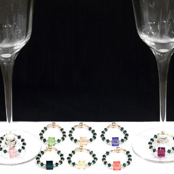 8 Wine Glass Charms, 2 Wine Bottle Charms, Custom Orders Welcome, 24 KT Gold Seed Beads, Swarovski Crystals, You can choose colors