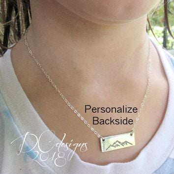 Mountain Necklace, Sterling Silver Bar Necklace, Silver Bar Necklace, Mountain Jewelry, Nature Jewelry, Personalized Bar Necklace