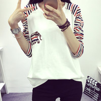 Women's Loose Long Sleeve Elbow Patch Elephant T-Shirt Gift 183