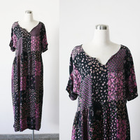 90's vintage grunge revival long maxi floral rayon gauze babydoll boho dress  oversized L XL plus size