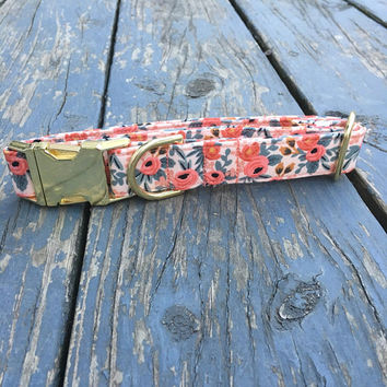 Dog Collar, Rose Dog Collar, Dog Collar Girl, Peach Dog Collar, Bow Tie Dog Collar, Pink Collar, Girly Dog Collar, Female Dog Collar,