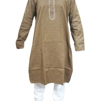 Mens Kurta Pajama Traditional Wear Embroidered Indian Clothing Sz Xxl