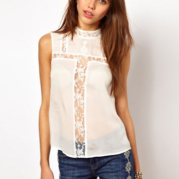 White Sleeveless Funnel Collar Chiffon Top with Lace Accent