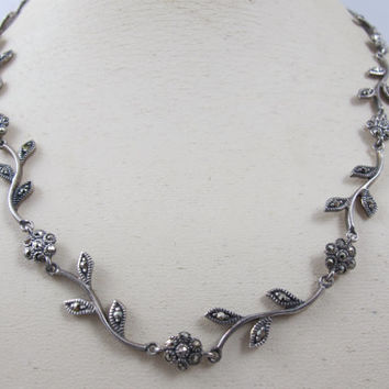 Vintage Sterling Marcasite Necklace Flower Leaves Floral Link Art Deco Style