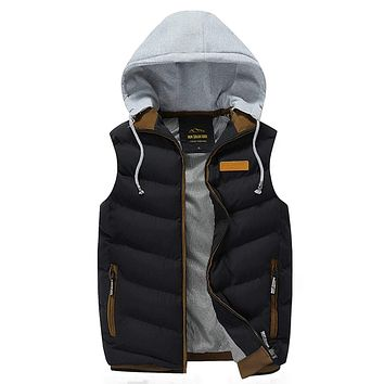 Mens Winter Puffy Vest with Removable Hood in Black