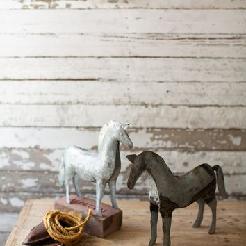 Set of 2 Rustic Galvanized Hand Hammered Horses