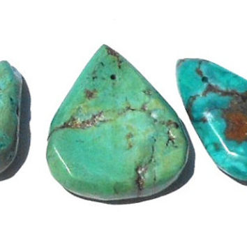 Set of 3 Small Rustic Teardrop Pendants, Turquoise Stone, Turquoise Blue, Black