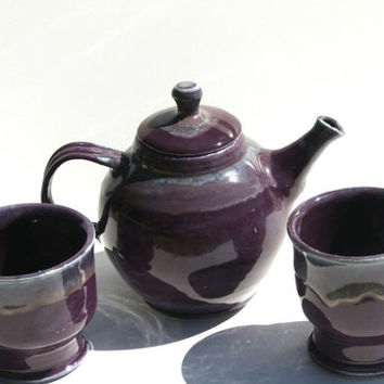 Purple Tea Set - Hand thrown Stoneware Pottery - ceramic tea pot and two tea cups