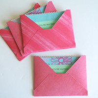 Floral Party Invitations, Set of Four Invites, Blue, Pink, Green, Envelope & Card